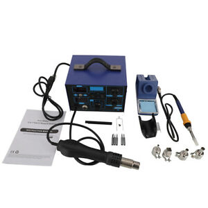 High quality 2in1 862d Smd Soldering Iron Hot Air Rework Station W 4 Nozzles