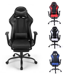 Gaming Chair Racing Seat Recliner Adjustable Executive High Back W footrest