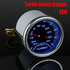 Universal Car 2 Blue Led Psi Turbo Boost Gauge Pressure Vacuum Smoked Face Us