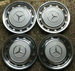 Oem Set Mercedes 280 250 300 220 14 Wheel Cover Hubcaps White Paint Stk 2018126