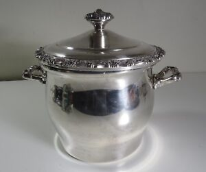 Vintage International Silver Glass Lined Silverplate Ice Bucket Countess