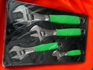 Snap on Green 4 Piece Flank Drive Plus Adjustable Wrench Set 6 12 Fadh704bg