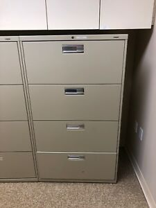 4 Drawer Lateral Size File Cabinet By Hon Office Furniture 30 X 53 1 2 X 19