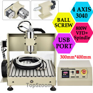 Cnc3040z 4 Axis Usb Router Engraver Engraving Drilling Milling Machine Us Local