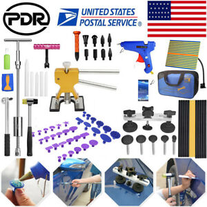 81pc Paintless Dent Repair Puller Lifter Pdr Tools T Bar Hammer Removal Glue Kit