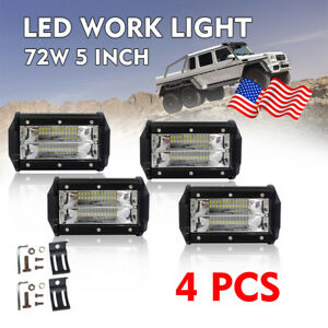 4pcs 5 inch 288w Led Work Light Bar Flood Combo Pods Driving Off road Truck 4wd