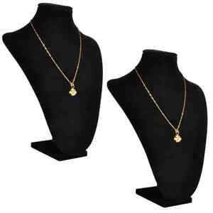 Flannel Jewelry Holder Necklace Bust Black 9 X 4 5 X 11 8 2 Pcs