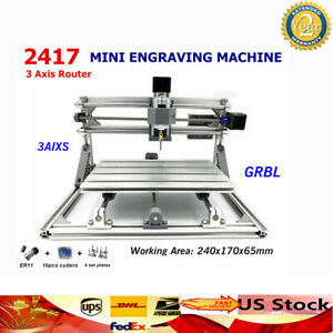 3 Axis Cnc Router Usb Metal Engraver 2417 Grbl Pcb Milling Engraving Machine Us
