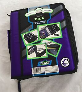 Case It The Z 3 Ring Binder 3 Capacity Purple Black Gray Handle Strap Pockets