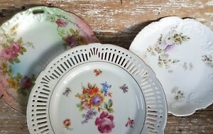 Antique Cabinet Plate Porcelain China Reticulated German Cake Rose Hydrangea Lot