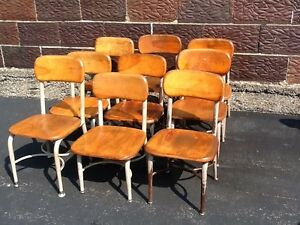 Lot Of 9 Vintage Heywood Wakefield Small Wood Metal School Chairs Very Good