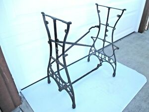 Vtg White Cast Iron Base Treadle Sewing Machine Table Legs With Wheels Steampunk