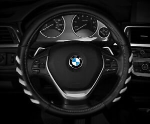 New Black White Car Steering Wheel Cover Hand Pad Buffer Size M 14 5 15 5