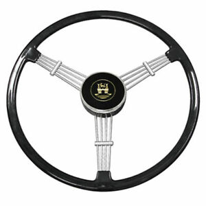Empi 79 4059 Banjo Style Black Vintage 3 Spoke Steering Wheel 15 1 2 Diameter