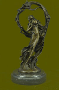 Mother Earth Goddess Unique Abstract Contemporary Real Bronze Sculpture Statue