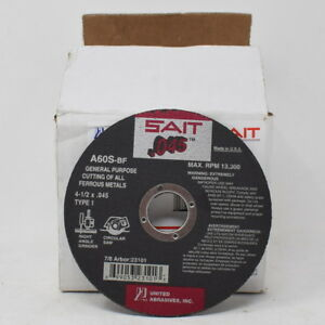 United Abrasives Sait 23101 Type 1 4 1 2x 045x7 8 A60s Cut off Wheels 50 pack