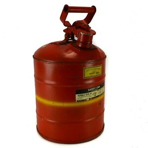 Republic Vintage Safety Gas Can Steel 3 Gallon Old Red Yellow Flip top Metal