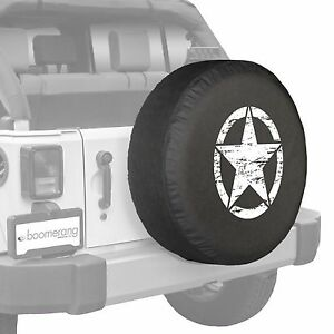 32 Boomerang Distressed Star Spare Tire Cover Fits Jeep Wrangler Jk White