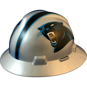 Msa V gard Full Brim Carolina panthers Nfl Hard Hat Type 3 Ratchet Suspension