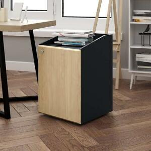 Devaise Mobile Wood File Cabinet 2 Drawers Inside letter Size office Furniture