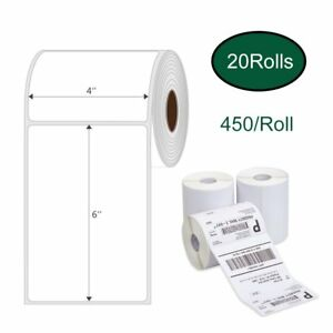 20 Rolls 450 Direct Thermal Barcode Shipping Labels 4x6 Zebra 2844 Zp450 Eltron