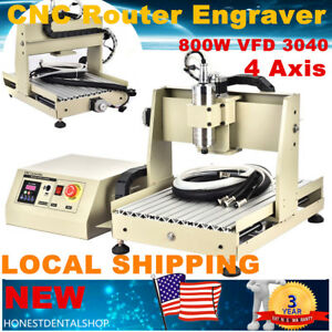 800w Vfd 4 Axis 3040 Cnc Router Engraver Milling Drilling Machine 3d Carving Rc
