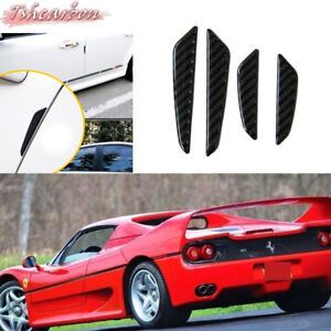 For Ferrari Black Carbon Side Door Edge Protective Anti scratch Trims Stickers