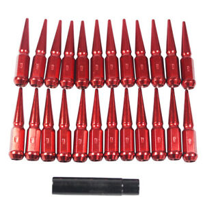 24pc Red Spike Lug Nuts 4 5 Tall M14x1 5 Fit For 6 Lug Chevy Gmc Ford Vehicles