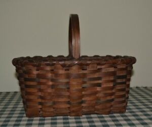 Antique Small Splint Basket With Original Blue Green Stain Paint No