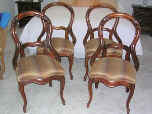 Antique Victorian Balloon Back Carved Dining Chairs Set Of 4