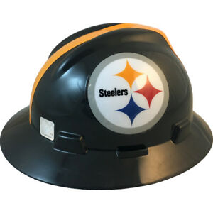 Msa V gard Full Brim Pittsburgh Steelers Nfl Hard Hat Type 3 Ratchet Suspension