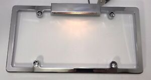 Universal Chrome Aluminum License Plate Frame With License Plate Light