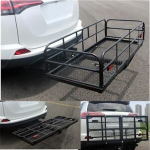 Portable Folding Hitch Mount Cargo Carrier Mounted Basket Luggage Rack Us