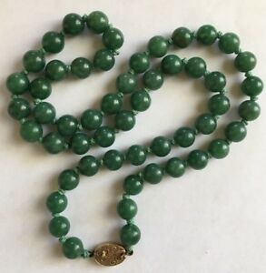 Antique Chinese Deep Green Jade Beads Sterling Necklace Apc 803