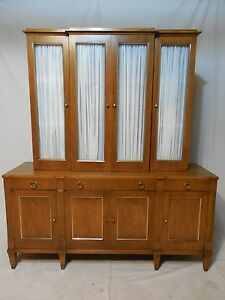 John Stuart Mid Century Hollywood Regency Walnut 2pc China Crystal Cabinet