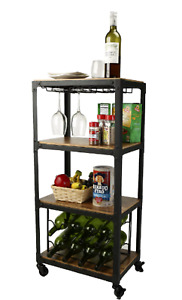 Small Utility Cart 4 tier Rolling Portable Wine Rack Trolley Wheels Wood Metal