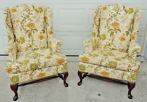 Pair Antique Vtg Hickory North Carolina Chippendale Wing Back Arm Chairs 4938