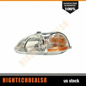 Ho2502110 Nsf Left Headlamp Assembly Composite Fit 96 98 Honda Civic Sedan Coupe