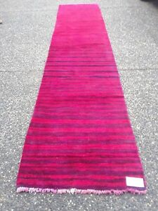 Vintage Over Dyed Persian Gabbeh 2 6 X 12 3 Handknotted Wool Pile Ru