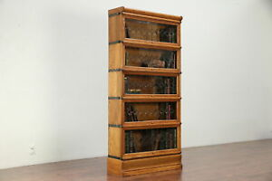 Lawyer Antique Oak 5 Stack Bookcase Leaded Beveled Glass Door Wernicke 29949