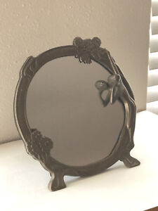 Vintage Olee Art Deco Style Nude Lady Brass Bronze Color Metal Table Mirror