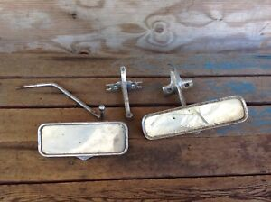 2 Vintage Rear View Mirrors With Hardware