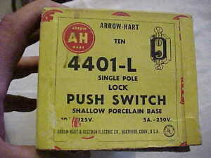 Rare Arrow Hart Nos Locking Push Button Switch 4401 l Single Pole Shallow Base