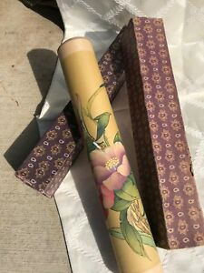 Vintage Chinese Silk Scrolls Of Painted Birds And Flowers With Case Signed