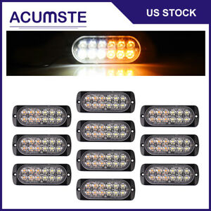10pcs White Amber 12 Led Strobe Light Car Beacon Flash Warning Hazard Emergency