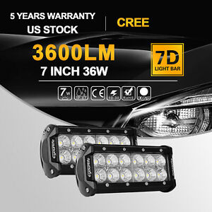 2x 7 Inch 36w Cree Led Work Light Bar Flood Offroad Atv Truck Lamp 4wd 12v 6