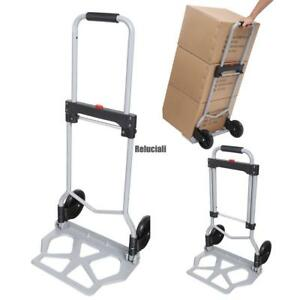 Portable Folding Hand Truck Dolly Luggage Carts Silver 220 Lbs Rcai