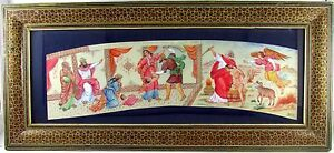 Antique Persian Miniature Judaica Painting Framed In Khatam Marquetry
