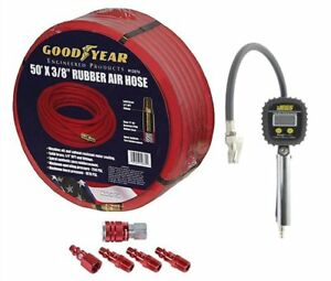 Goodyear Air Hose 12674k Red Rubber Air Hose Fitting And Gauge Kit 3 8 Includes
