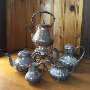 Antique Silver Plate H L Chased Tea Set Samovar Coffee Tea Sugar Creamer
